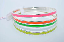 JULES SMITH Silver Plated Neon Enamel Bangles Bracelet set of 4 $96 NEW