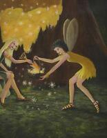 FAIRY FAIRIES NIGHT GOLDEN MAGIC STAR DUST ACORN OAK TREE LISTED ARTIST PAINTING