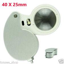 MINI Tragbar 40 X 25mm Glas Linse Juwelie Lupe Magnifier Mit hellen LED Light DE