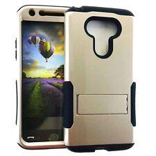 For LG G5 - HARD&SOFT RUBBER HYBRID ARMOR PHONE CASE COVER GOLD BLACK KICKSTAND