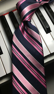 Bloomindale's The Men's Store / Pink Satin & Navy Grosgrain Stripe Silk Tie NWOT
