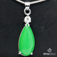 Pear Green Jade Necklace Women Jewelry Gift 925 Sterling Silver Free Shipping