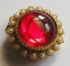 serre passe foulard bijou vintage couleur or cabochon de verre rouge perle *3208