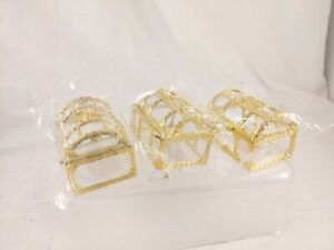"""Mini Treasure Chest Gold Color Set of 3 *AS IS- BROKEN HINGES* 3.5""""W x 2""""D x 2""""T"""