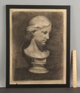 ELANOR COLBURN Neoclassical Marble Sculpture Bust Charcoal Still Life Drawing