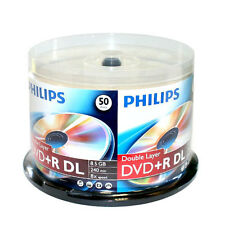 50 PHILIPS 8X DVD+R DL Dual Double Layer 8.5GB  Logo Media Disc Cake Box/240mins