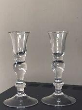 """Set of 2 ARTLAND Handmade blown Glass Candlestick Candle Holders 6"""""""