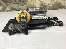 PlayStation 3 Slim PS3 CECH-2001A 120GB Console Cords TESTED PLAYS PS1 Games