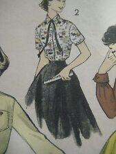 Vintage 50's Advance 7847 BLOUSE & SKIRT Sewing Pattern Teen-Age Girls Sz 12