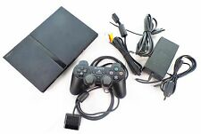 Playstation 2 Konsole Slim schwarz + Controller + alle Kabel  / Sony PS2