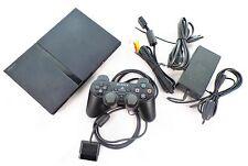 Playstation 2 Konsole Slim schwarz + Controller + alle Kabel  / Sony PS2