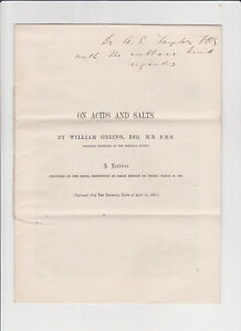 On Acids & Salts William Odling 1860 Inscribed to Alfred Swaine Taylor