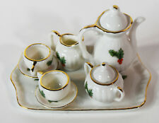 8 piece Miniature Doll House Christmas Japan PorcelainTea Set Teapot Toys Lefton