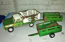 VTG 70s Nylint Farms Green Stake Bed Truck with 2 Green Trailers Parts Restore