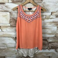 my michelle womens medium high low tank top floral crochet orange white