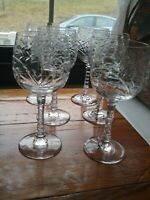 Six (6) Libbey Crystal Rock Sharpe Baden #1004 Tall Water Goblet(s)
