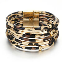 & Bangles Wide Wristband Leopard Leather Bangle  Magnetic Clasp Bracelet