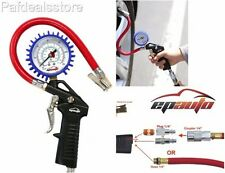 Tire Pressure Gauge Inflator Gun Chuck Hose Car Drive 220 PSI Quick Connect Dial