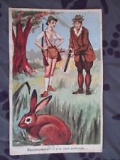 """CPSM HUMOUR - """"Recommence, il n'a rien entendu ..."""" CHASSE CHASSEUR COUPLE"""