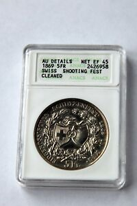 Swiss shooting taler 1869 Zug 5 francs silver ANACS EF45