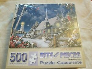 """Bits and Pieces 500 Piece Puzzle  Title """"Guiding Lights""""  Snow and Winter Scene"""