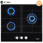 Gas Cooktop 3 Burners Drop-in Tempered Glass LPG/NG Gas Stove Cast iron bracket photo