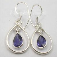 "Faceted Jewellery ! Drop IOLITE Dangle Earrings 1.4"", 3.2 Grams 925 Solid Silver"