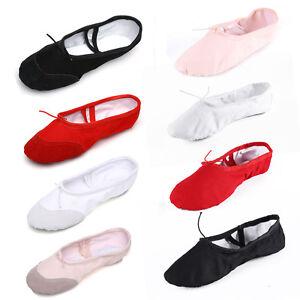 Children Adult Size Canvas Split Sole Ballroom Girls Ballet Dance Shoes Slippers