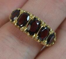 Victorian Design 9 Carat Gold and Five Garnet Stack Ring f0257