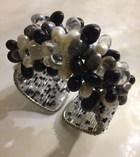 White Black Grey Fresh Water Pearl Silver Cuff Bangle Bracelet Rocks Boutique
