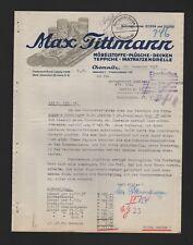 CHEMNITZ, Brief 1937, Max Tittmann Möbelstoffe Plüsche Decken Teppiche Matratzen