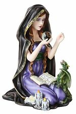Celestial Orb Witch w Dragon Baby Statue Figurine Spell Book