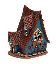 Keramik Teelichthaus Lichterhaus Fachwerk Hexenhaus blau 13 Cm 40558