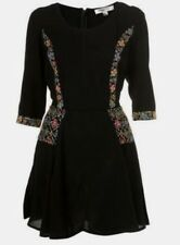 Topshop Kate Moss Black Embroidered Mini Folk Fit & Flare Dress - Size 10