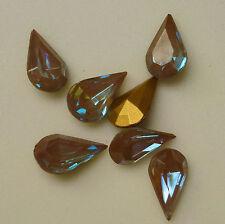 1 Rare Vintage Glass Rhinestone Pear Saphiret Gold TTC Foiled PB 13x8mm F2-1