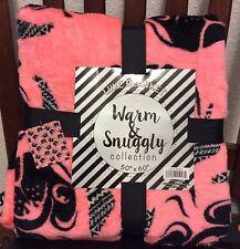 "NEW Coral Pug Dog Plush Snuggly Blanket 50"" X 60"""