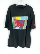 Drunknmunky Mens Graphic T-Shirt Black Red Patchwork Spell Out Crew Neck XL