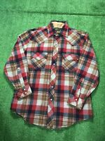 Vintage K Mart Western Pearl Snaps Checker Plaid Wool Blend 70s Flannel Shirt M