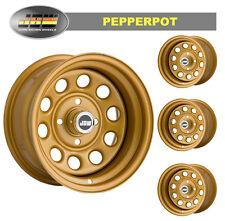 """8.0x13"""" Pepperpot 4x108 GOLD Steel Wheels (x4) Classic Ford Escort mk1/2"""