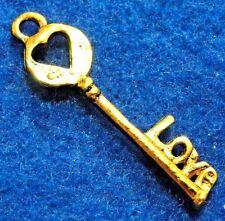 "10Pcs. Tibetan Antique Gold Key ""LOVE"" Heart Charms Pendants Earring Drops LK58"