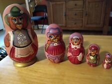 5 pc Bear Family Wooden Russian Nesting Dolls, Stacking Set
