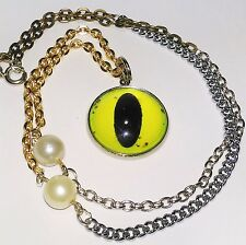Cabochon Necklace - Green Mixed Metal All Seeing Cat Eye & Beads - Handmade