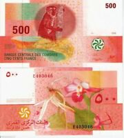 COMOROS 500 Francs Banknote World Money UNC Currency BILL p15 Africa Note Lemur