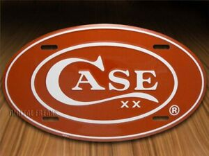 Case xx Red Oval Embossed Aluminum License Plate 52441
