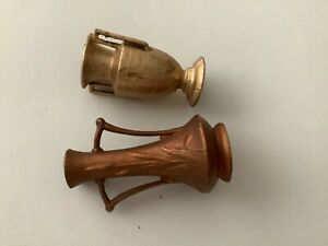 Two miniature antique metal vases dolls house Germany