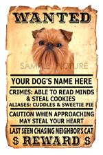 Brussels Griffon Dog Wanted Poster Flex Fridge Magnet Personalized Name