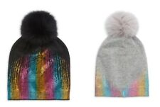 Adrienne Landau Fox Fur Pom-Pom Beanie, BLACK or GREY w/ METALLIC RAINBOW $95