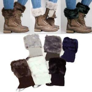Women Winter Leg Warmer Crochet Knitted Faux Fur Trim Boot Socks Toppers Cuff UK