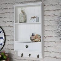 en bois blanc MUR unité 2 Tablettes Crochets tiroir stockage