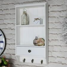 White wooden wall unit 2 shelves hooks drawer storage kitchen bathroom hallway